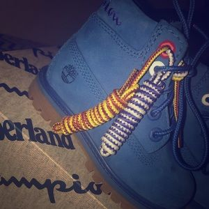 Bright Blue Champion Timberlands Toddler Sz 7C
